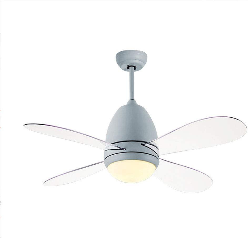 QZZZ Ventilador de Techo con Lámpara, 36W Creativo Ventilador LED Lámpara de Techo Regulable Ultra Silencioso Ventilador Lámpara para Sala de Estar Dormitorio Restaurante,Gris