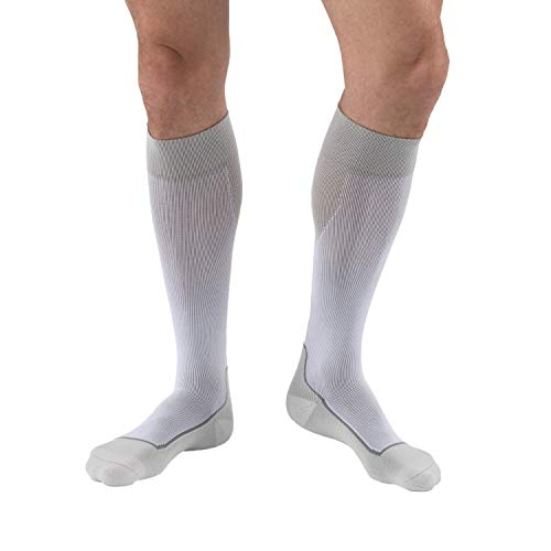 JOBST Sport Knee High 15-20 mmHg Compression Socks, White/Grey, Medium from JOBST
