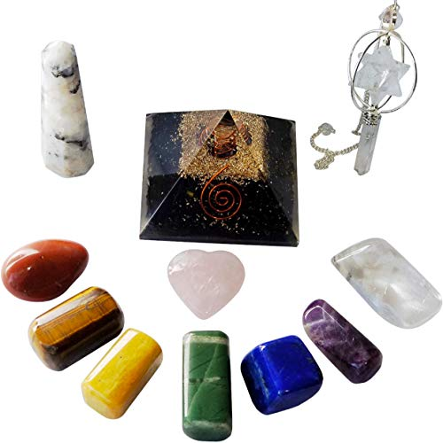 (Large - 1 1/2 - 2 Inch Chakra Crystals and Healing Stones Set - Black Tourmaline Orgone Pyramid - Rose Quartz Crystal and Gemstones - Enhance Your Overall Well Being - Great for Meditation and Reiki)