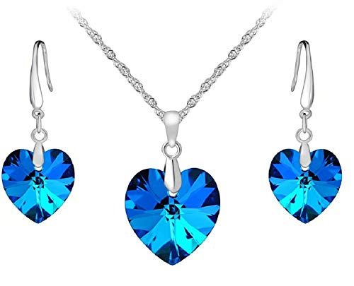 - Maylena Belle 925 Silver Aquamarine Ocean Blue Crystal Heart Pendant and Earrings Set