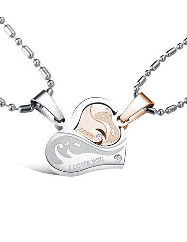[Valentine's Gif Titanium His & Hers Love Heart-shape
