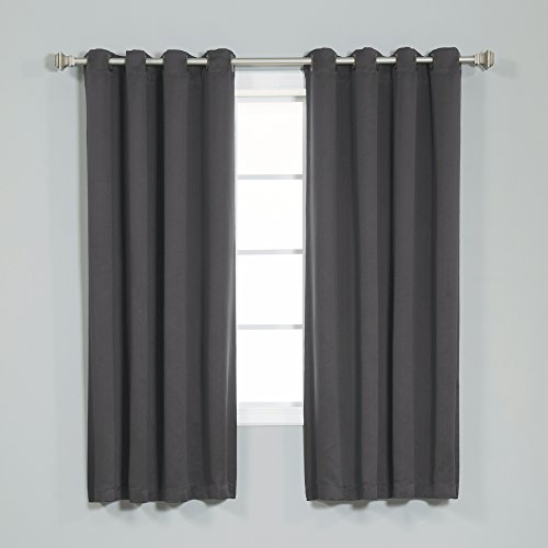 "Best Home Fashion Thermal Insulated Blackout Curtains - Antique Bronze Grommet Top - Dark Grey - 52"" W x 63"" L (Set of 2 Panels)"