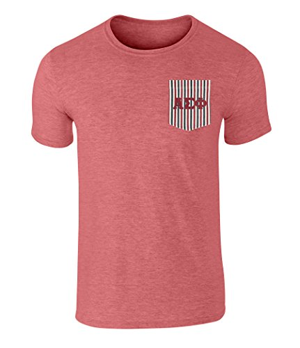 Alpha Sigma Phi American Flag Theme Pocket T Shirt with Twill Letters Heather-Red M