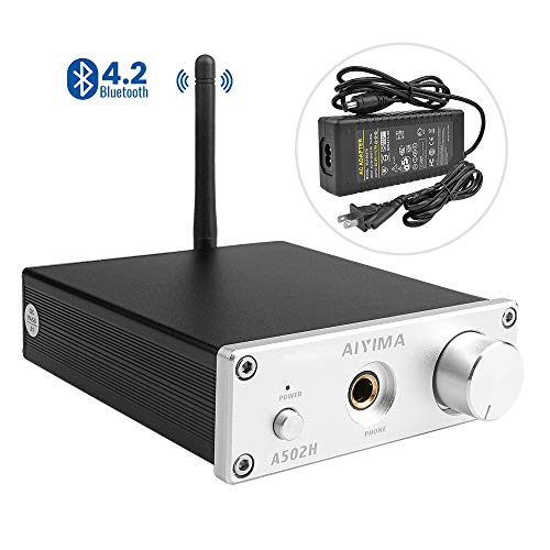 AIYIMA 2.0 Channel TPA3116D2 HiFi Stereo Audio Amplifier with Bluetooth 4.2& Headphone Amplifier & 50W x 2 Class D Integrated Digital Amp Receiver for Home Desktop Speakers Headphones(Silver)