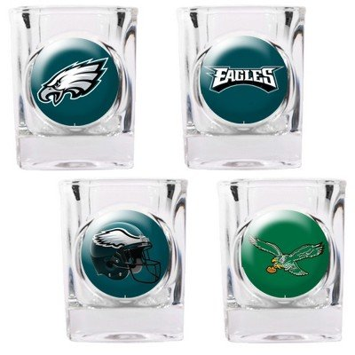 Philadelphia Eagles - 4 Piece Square Shot Glass Set w/Individual Logos (Piece Square Nba 4)