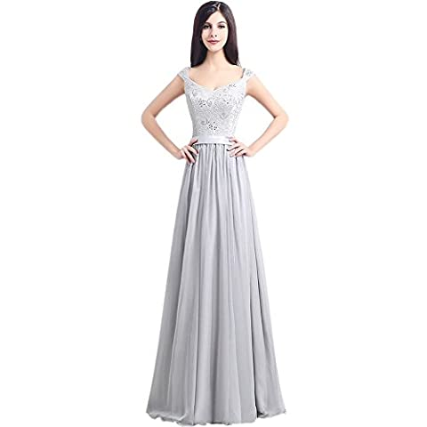 MOBAI Women's Cap Sleeves A-Line Beaded Lace and Chiffon Evening Gowns (14, Gray) - 20101 Cap