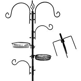 Deluxe Bird Feeding Station : Bird Feeders for Outside – Hang Multiple Feeders From the 4 Hangers, Bird Bath, Mesh Tray and 3 Prong Base to Bring Birds To Your Yard – 22 Inch Wide x 7 feet 8 inch Tall