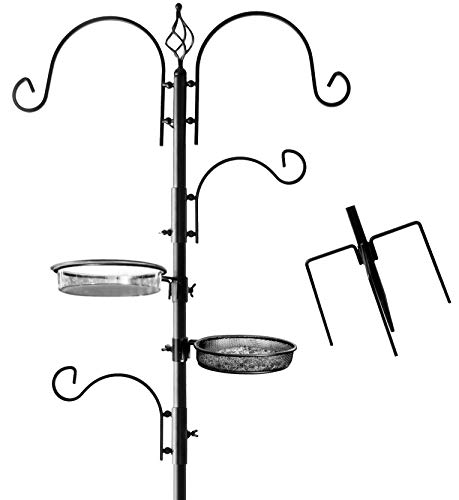 Deluxe Bird Feeding Station for Outdoors: Bird Feeders for Outside - Multi Feeder Pole Stand Kit with 4 Hangers, Bird Bath and 3 Prong Base for Attracting Wild Birds - 22 Inch Wide x 92 Inch Tall by AshmanOnline