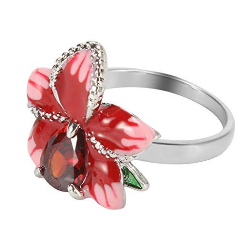 (Goddesslili Ruby Diamond Rings for Women Ladies Girlfriend, Gorgeous Rose Flower Garnet White Topaz Elegant Charm Gift Silver Ring for Wedding Engagement Anniversary)