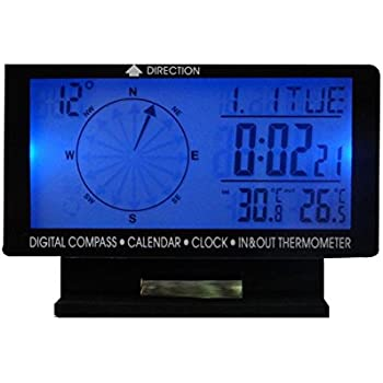 SAVEMORE4U18 Car Digital Compass with Clock Calendar Indoor/Outdoor Temperature Display