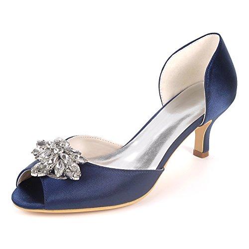 Flower-Ager Y1195-03K Mujeres Peep Toe Sandalias Piedras De Diamantes De Imitación Bombas Talones Medio Satén Wedding Party Court Shoes,Deepblue,UK6/EU39