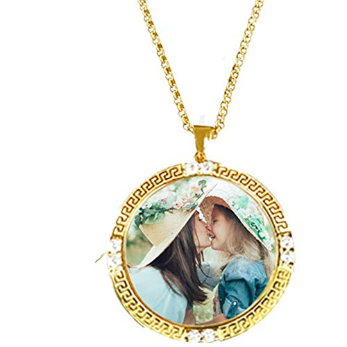 (DXYAN Personalised Photo Necklace Round Shape Color Engraved Necklace Pendant for Lover Best Personalised Jewellry Gift(Silver|20.0 inches))