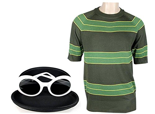 Kurt Cobain Costume (Kurt Cobain Sweater + Sunglasses Set Green Short Sleeve Shirt Costume Nirvana (M, white))
