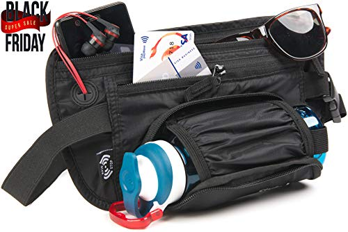 Travel Money Belt & Waist Pack – RFID Blocking Wallet, Waist Bag, Bottle Holder