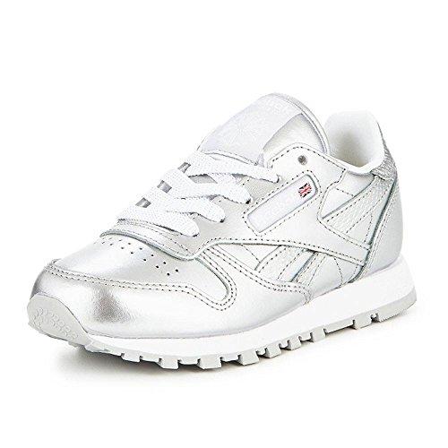 Reebok Classic Leather Metallic, Zapatillas de Running para Niñas Plateado (Silver / White)
