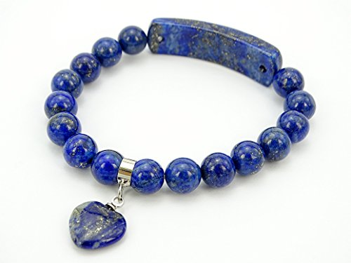 Lapis Star Bracelet (jennysun2010 8mm Natural Lapis Lazuli Gemstone Heart Bar Round Beads Stretchy Bracelet Healing Reiki Chakra 8.5