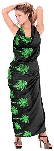La Leela liscio rayon coprire cocco ricamato albero sarong 78x39 pollici nero