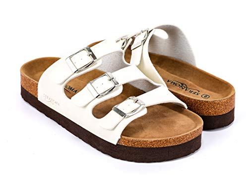 Seranoma Women's Triple Adjustable Buckle Platform Slide | Open Toe Slip On | Summer Cork Sandal | High Platform | Metal Buckle White