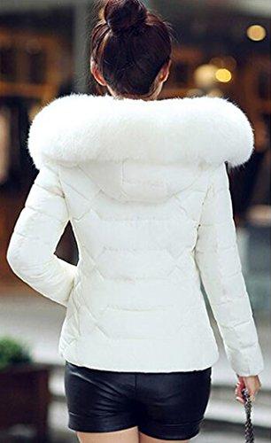 Peluda Jacket Parka Acolchado Yeesea Invierno Blanco Con Mujer Abrigos Capucha Outwear Casual Corta IPqFAgaFwx
