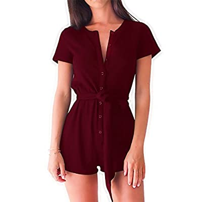 PARTY LADY Women's Casual Romper Shorts Button Belted with Waistband Playsuit