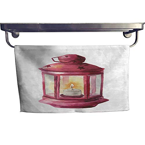"Pool Gym Towels Watercolor Traditional red Lantern with Candle Hand Painted Christmas Lantern on White Background for Design Print Party Decor Towel W 8"" x L 23.5"""