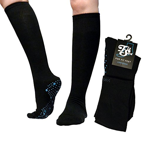FitSox Pilates, Yoga, Barre, Ballet, Dance, Fitness, Martial Arts, Gym, Workout, Anti Slip, Non Slip, Grip, Skid, Fall Prevention, Hospital. Socks, Sox, Fit Products (Black/Blue Long) (Grip Socks Knee High)