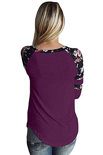 New viola floreale Varsity Stripe a maniche lunghe pullover camicetta estate camicia top casual Wear taglia UK 10EU 38