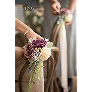 Ling's moment Wedding Aisle Decorations Set of 8 Pew Flowers with Tails for French Style Wedding Decorations 2