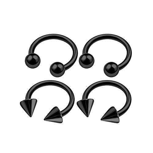 4Pcs Black Anodized 18g 1/4 6mm Horseshoe Barbell Earrings Piercing Jewelry Helix Septum Lip Eyebrow Rook 3mm Ball Cone M4936