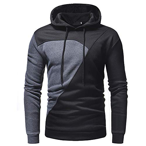 Sunhusing Men's Personality Patchwork Casual Solid Color Sweater Colorblock Hoodie Outwear