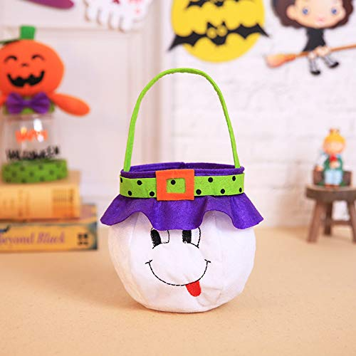 JX Lecal Ghost Trick-or-Treat Tote Bag Halloween Candy Cookie Gift Bag Costume Accessory Totes Bag1 Pcs