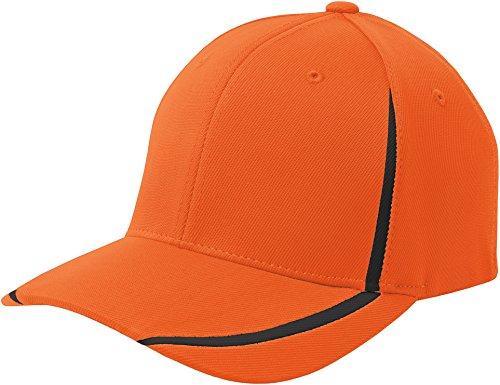 Sport-Tek STC16 Flexfit Performance Colorblock Cap - Deep Orange/Black - S/M ()