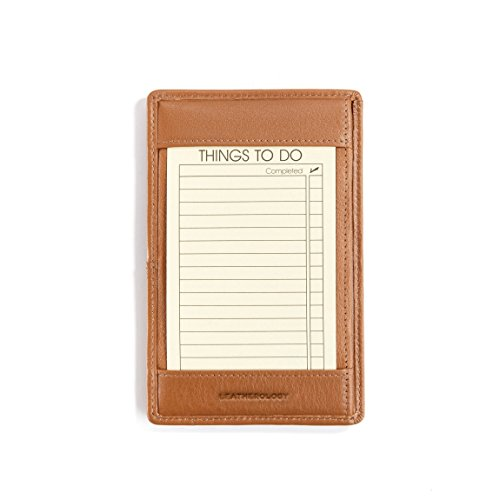 Pocket Shirt Briefcase (Leatherology Note Jotter with Pen Holder - Full Grain Leather - Cognac (brown))