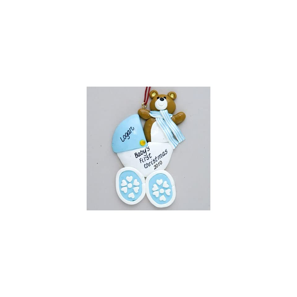 Personalized Blue Baby Carriage First Christmas Ornament
