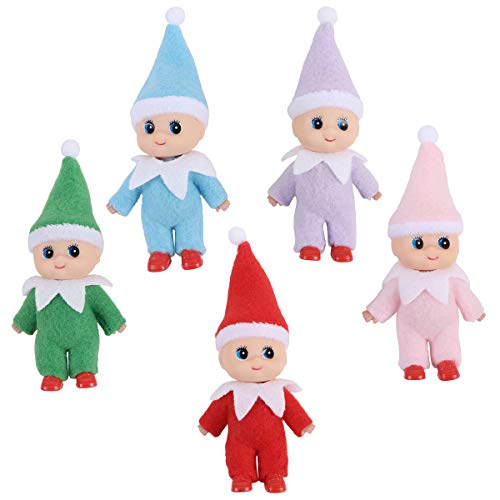 Yoodelife Colorful Costume Vinyl Face Plush Dolls Elf for Christmas Holiday New Year Decoration Gift 5 Pack