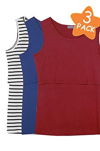 (Smallshow Women's 3 Pack Maternity Nursing Tank Tops XX-Large Black Stripe-Navy-Burgundy)