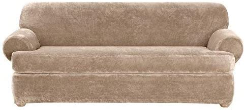 SureFit SF40928 2Piece Stretch Plush Slipcover - Sable, Sofa