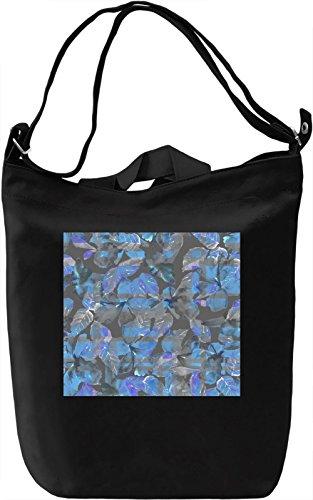 Blue and Gray Leafs Print Borsa Giornaliera Canvas Canvas Day Bag| 100% Premium Cotton Canvas| DTG Printing|