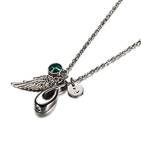 Love Infinity Pendant Cremation Jewelry for Mom Daughter Sister Initial Necklace Urn Memorial Ashes Holder Keepsake with Birthstone Crystal by AMIST (Green And Gold Baseball Necklace)