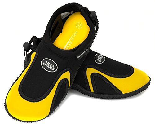 Aqua Speed Set - Aqua-Schuhe + Mikrofaserhandtuch | Damen | Herren | Kinder | Jugendliche | Poolschuhe | Badeschuhe | Neopren MODELL 18 - Schwarz / Gelb