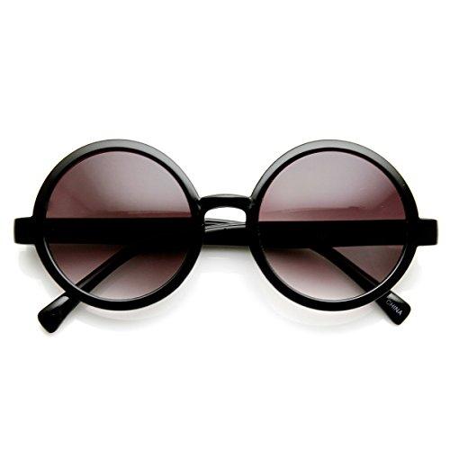 Classic Retro Style Shiny Plastic Round Circle Sunglasses (Black Lavender) -