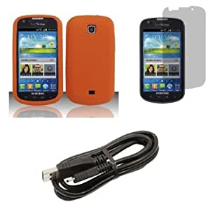 Bloutina Samsung Galaxy Stellar (Verizon) Combo - Orange Silicone Gel Cover + Atom LED Keychain Light + Screen Protector...