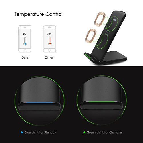 Seneo PA046 Fast Wireless Charger 10W Fast Charge 2 Coils QI Wireless Charging Stand(Sleep-Friendly) for S8 S8 Plus S7 S7 Edge Note 5 S6 Edge Plus- No AC Adapter