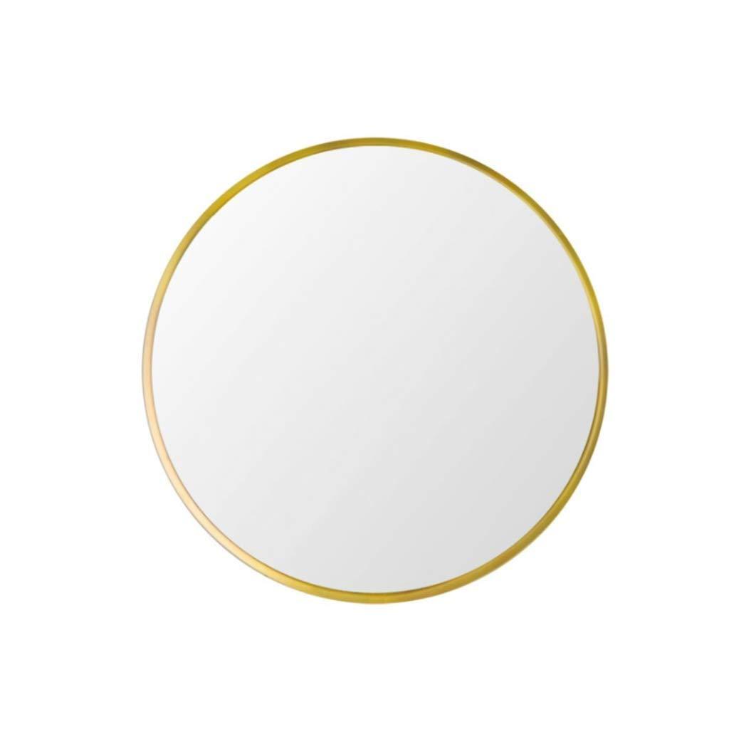 gold 80 cm XIUXIU Mirror Simple Round Aluminum Bathroom Vanity Mirror Wall Mounted Nordic Bedroom Dressing Table Vanity Mirror (color   gold, Size   80 cm)
