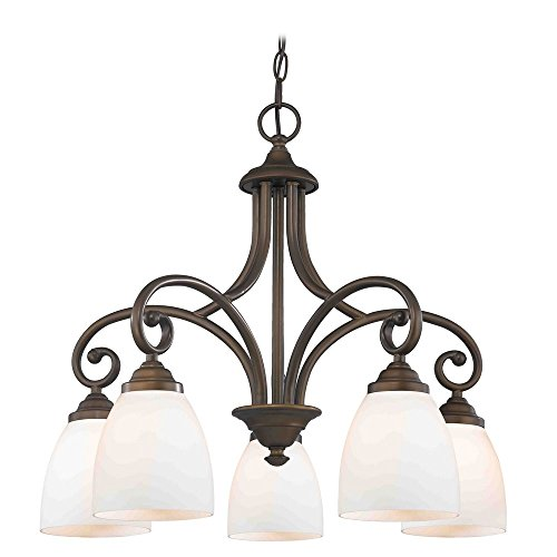 Chandelier with White Glass in Bronze Finish - Beaumont Ceiling Chandelier