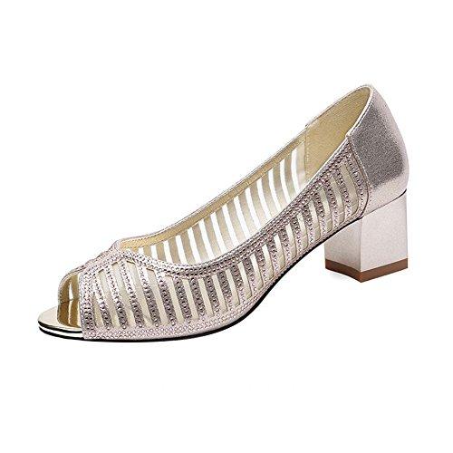 Sandalias Versión Coreana Verano Tacón Medio Madre Zapatos Sandalias Sandalias Boca Gruesa Inferior de la Sra. Oro