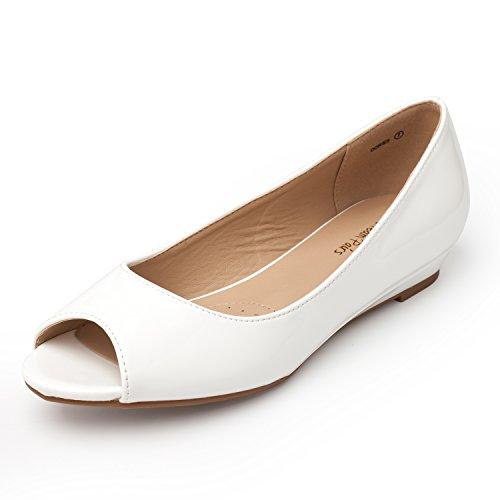 DREAM PAIRS Women's Dories White Pat Low Wedge Peep Toe Flats Shoes Size 9.5 M US