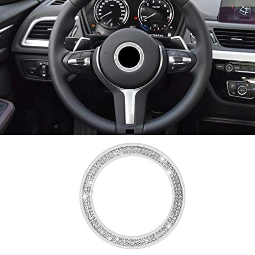 Senzeal Car Steering Wheel Logo Cover Crystal Decoration Sticker Ring for BMW 3 4 5 Series X3 X5 E30 E36 E34 E39 F30 F34 F36 F15 G01 G30 G31 Silver