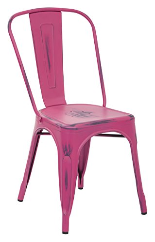 OSP Designs Bristow Armless Chair,Antique Pink, 2 Pack, Antique Pink (Chairs Dining Pink Metal)