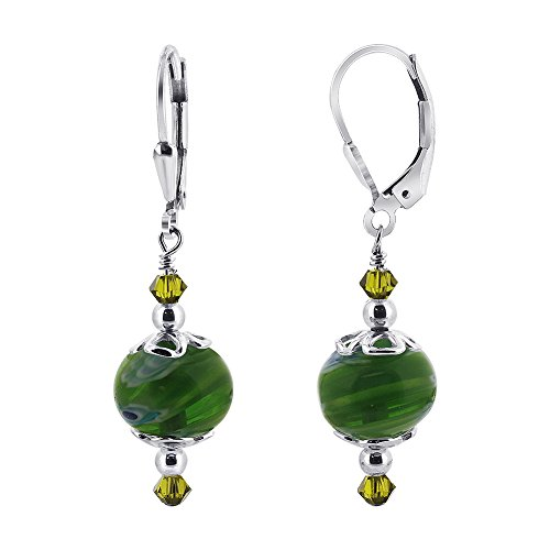 Gem Avenue 925 Sterling Silver Handmade Green Glass Beads & Swarovski Elements Crystal Leverback Drop Earrings for Women (Green Swarovski Glass)